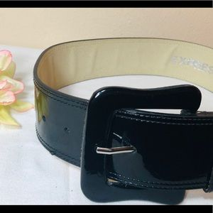 EXPRESS black patent belt with buckle, siz…